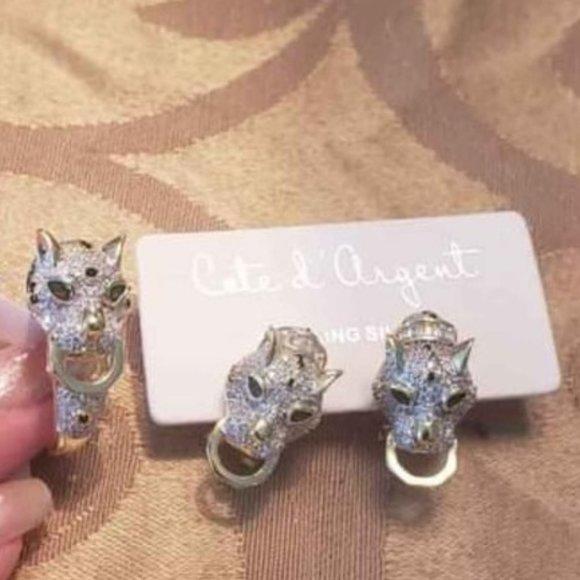SILVER / GOLD EARRING RING SET - PANTHER / CAT / CHEETAH - RING 8